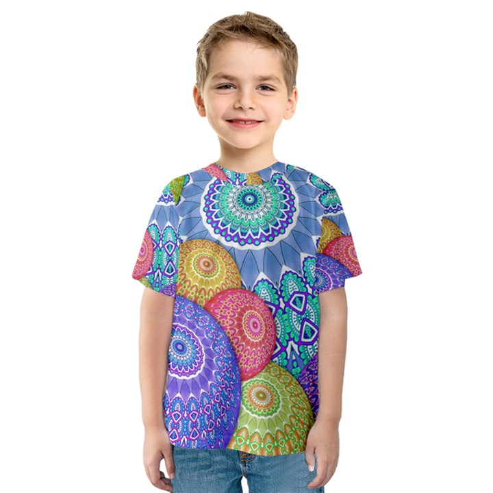 India Ornaments Mandala Balls Multicolored Kids  Sport Mesh Tee