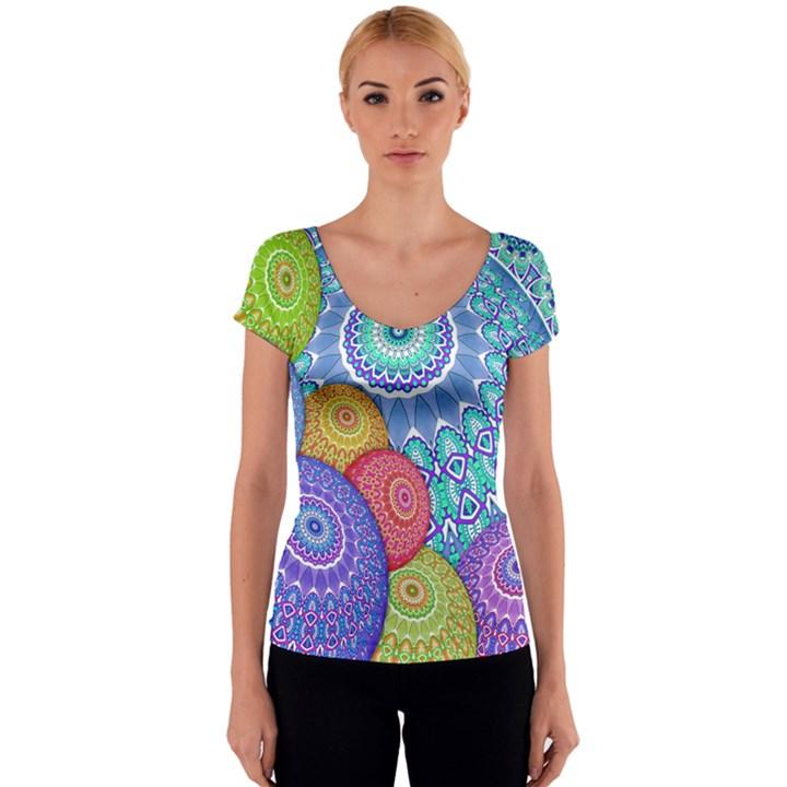 India Ornaments Mandala Balls Multicolored Women s V-Neck Cap Sleeve Top