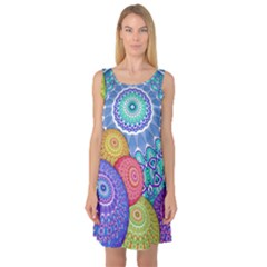 India Ornaments Mandala Balls Multicolored Sleeveless Satin Nightdress
