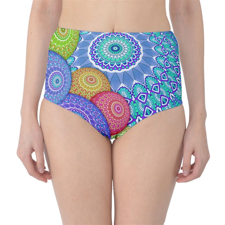 India Ornaments Mandala Balls Multicolored High-Waist Bikini Bottoms