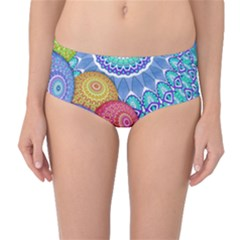 India Ornaments Mandala Balls Multicolored Mid Waist Bikini Bottoms