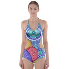 India Ornaments Mandala Balls Multicolored Cut-Out One Piece Swimsuit