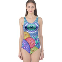 India Ornaments Mandala Balls Multicolored One Piece Swimsuit