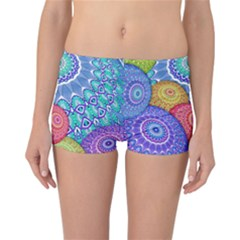 India Ornaments Mandala Balls Multicolored Reversible Boyleg Bikini Bottoms