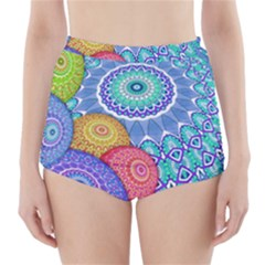India Ornaments Mandala Balls Multicolored High-Waisted Bikini Bottoms