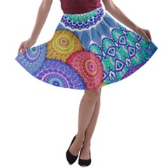 India Ornaments Mandala Balls Multicolored A-line Skater Skirt