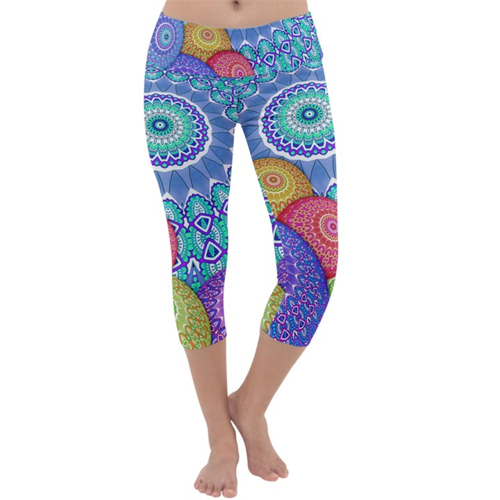 India Ornaments Mandala Balls Multicolored Capri Yoga Leggings