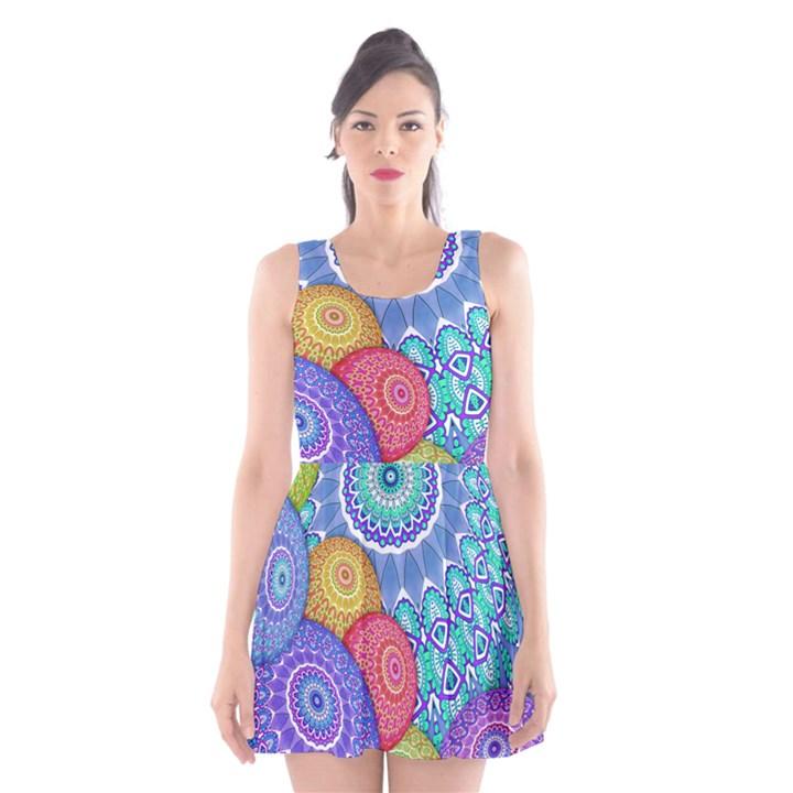 India Ornaments Mandala Balls Multicolored Scoop Neck Skater Dress