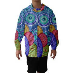 India Ornaments Mandala Balls Multicolored Hooded Wind Breaker (Kids)