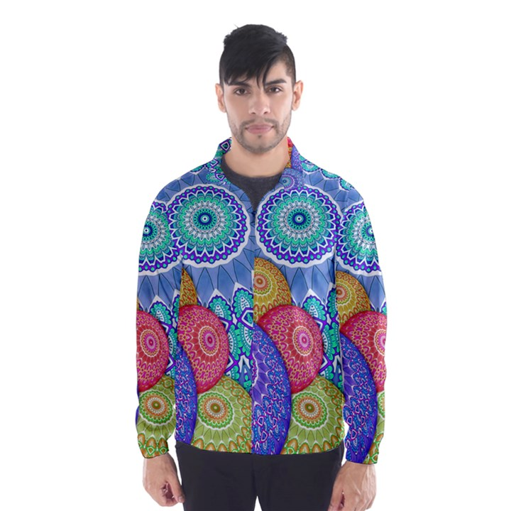 India Ornaments Mandala Balls Multicolored Wind Breaker (Men)