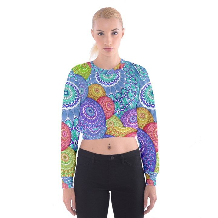 India Ornaments Mandala Balls Multicolored Women s Cropped Sweatshirt