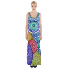 India Ornaments Mandala Balls Multicolored Maxi Thigh Split Dress