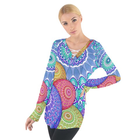 India Ornaments Mandala Balls Multicolored Women s Tie Up Tee