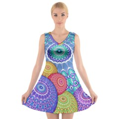 India Ornaments Mandala Balls Multicolored V-Neck Sleeveless Skater Dress