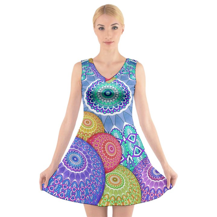 India Ornaments Mandala Balls Multicolored V-Neck Sleeveless Skater Dress