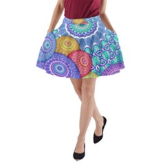 India Ornaments Mandala Balls Multicolored A Line Pocket Skirt