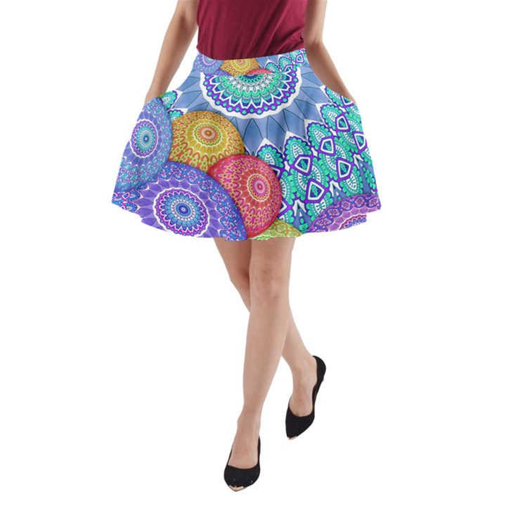 India Ornaments Mandala Balls Multicolored A-Line Pocket Skirt