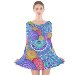 India Ornaments Mandala Balls Multicolored Long Sleeve Velvet Skater Dress