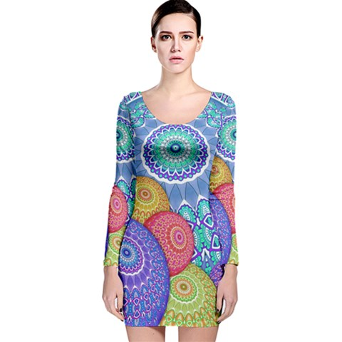 India Ornaments Mandala Balls Multicolored Long Sleeve Velvet Bodycon Dress