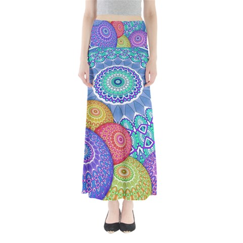 India Ornaments Mandala Balls Multicolored Maxi Skirts