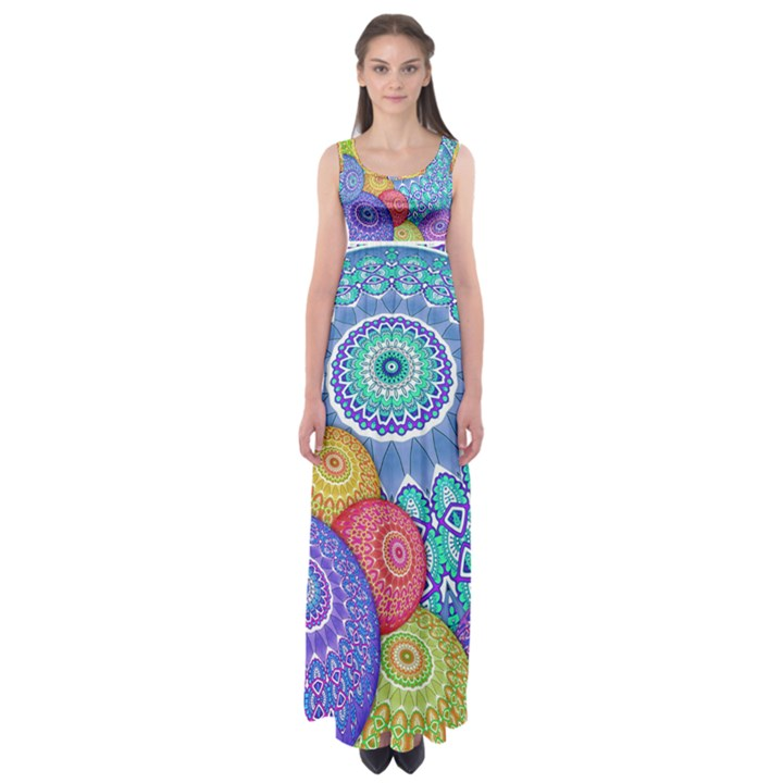 India Ornaments Mandala Balls Multicolored Empire Waist Maxi Dress