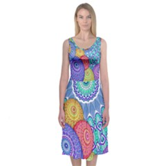 India Ornaments Mandala Balls Multicolored Midi Sleeveless Dress