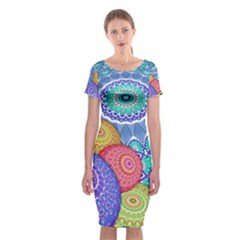 India Ornaments Mandala Balls Multicolored Classic Short Sleeve Midi Dress