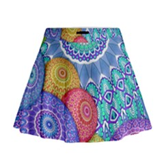 India Ornaments Mandala Balls Multicolored Mini Flare Skirt