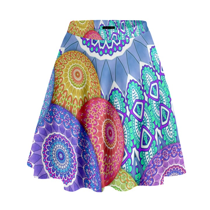 India Ornaments Mandala Balls Multicolored High Waist Skirt