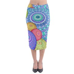India Ornaments Mandala Balls Multicolored Midi Pencil Skirt