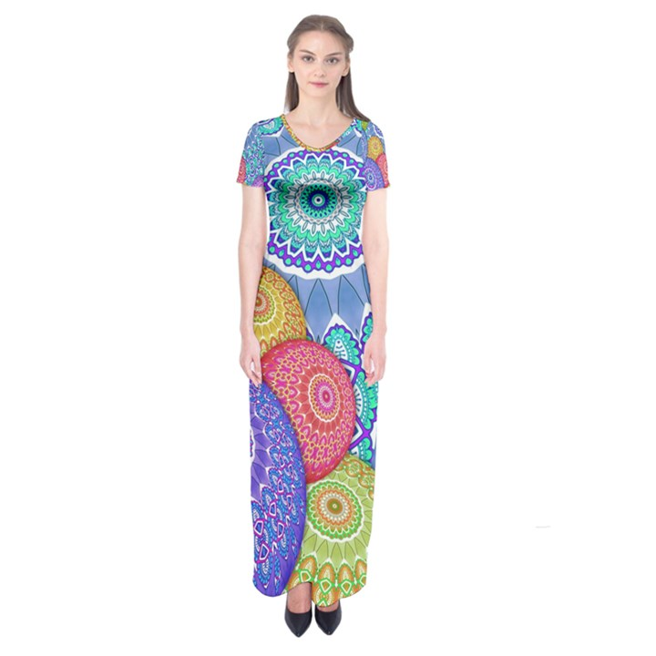 India Ornaments Mandala Balls Multicolored Short Sleeve Maxi Dress