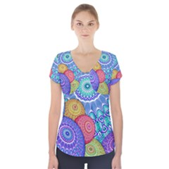 India Ornaments Mandala Balls Multicolored Short Sleeve Front Detail Top