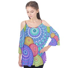 India Ornaments Mandala Balls Multicolored Flutter Tees