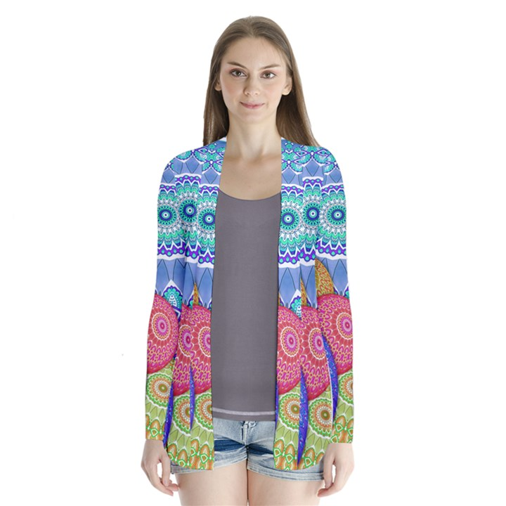 India Ornaments Mandala Balls Multicolored Drape Collar Cardigan