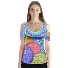India Ornaments Mandala Balls Multicolored Butterfly Sleeve Cutout Tee