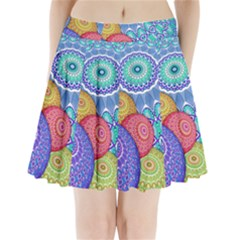 India Ornaments Mandala Balls Multicolored Pleated Mini Skirt