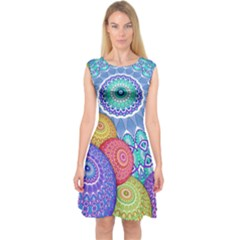 India Ornaments Mandala Balls Multicolored Capsleeve Midi Dress