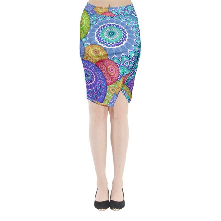 India Ornaments Mandala Balls Multicolored Midi Wrap Pencil Skirt