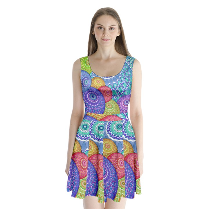 India Ornaments Mandala Balls Multicolored Split Back Mini Dress