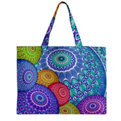 India Ornaments Mandala Balls Multicolored Medium Zipper Tote Bag