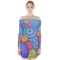 India Ornaments Mandala Balls Multicolored Long Sleeve Off Shoulder Dress