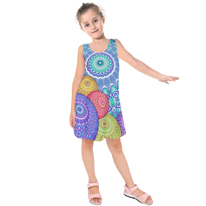 India Ornaments Mandala Balls Multicolored Kids  Sleeveless Dress