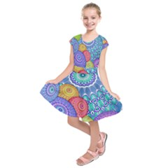 India Ornaments Mandala Balls Multicolored Kids  Short Sleeve Dress