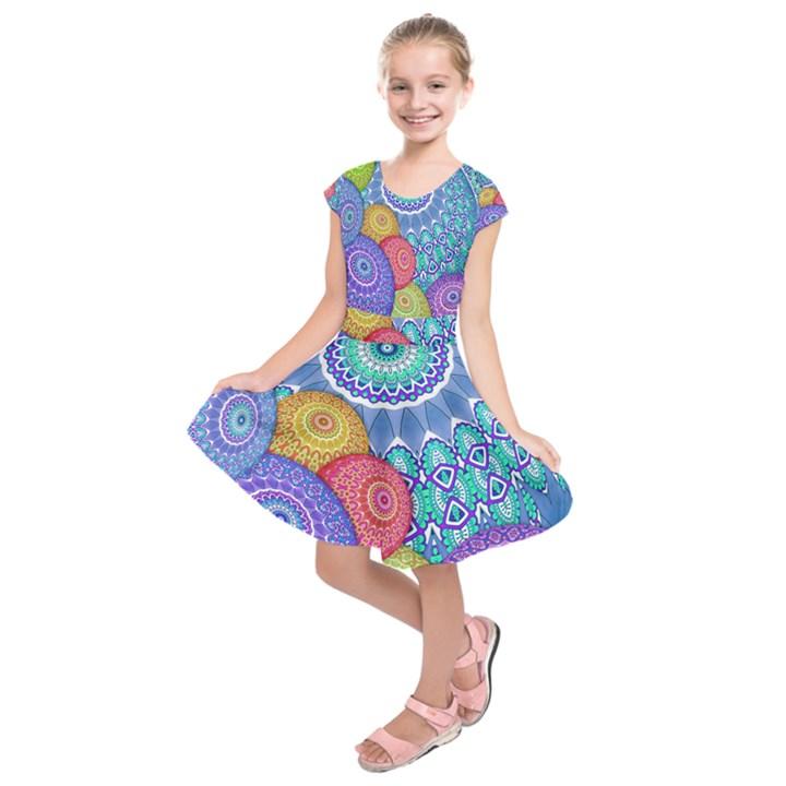 India Ornaments Mandala Balls Multicolored Kids  Short Sleeve Dress