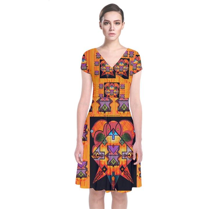 Clothing (20)6k,kk  O Short Sleeve Front Wrap Dress