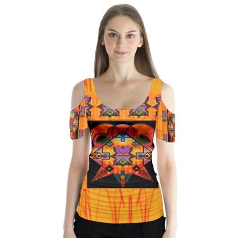 Clothing (20)6k,kk  O Butterfly Sleeve Cutout Tee