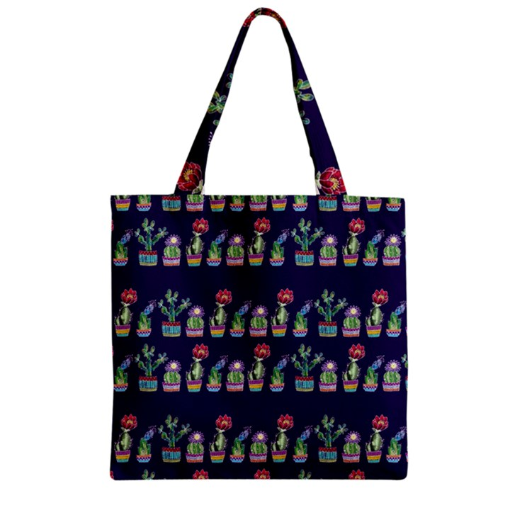 Cute Cactus Blossom Zipper Grocery Tote Bag