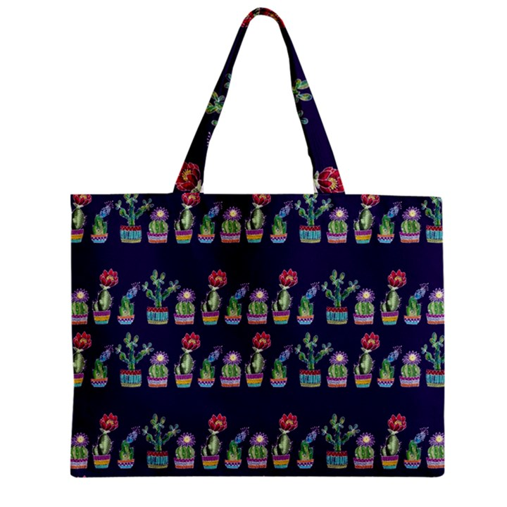 Cute Cactus Blossom Zipper Mini Tote Bag