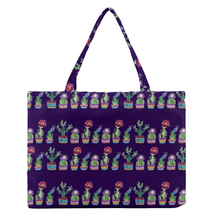 Cute Cactus Blossom Medium Zipper Tote Bag