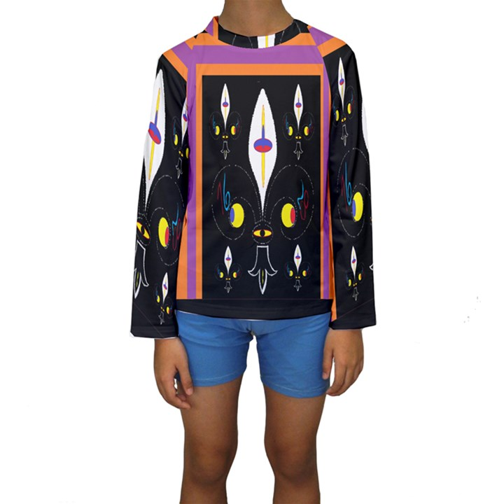Flower F D L Kids  Long Sleeve Swimwear